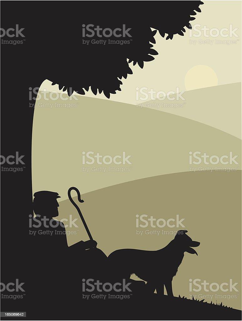 Shepherd at Rest vector art illustration