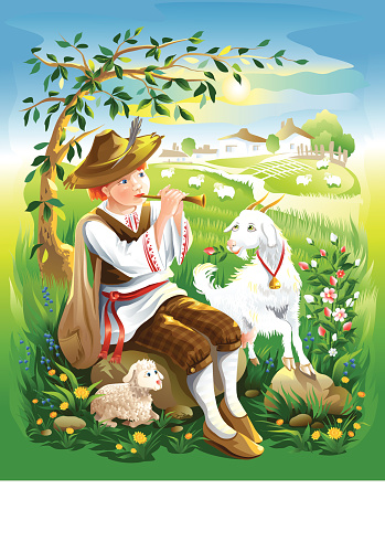 shepherd boy with goat