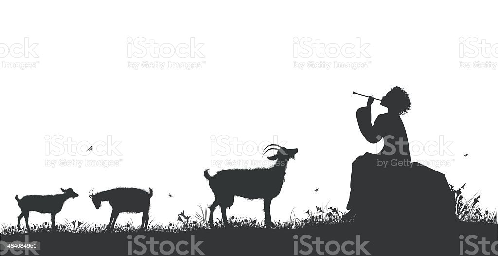 shepherd vector art illustration