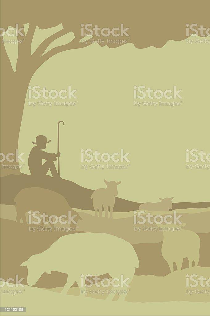 Shepherd with flock of sheep vector art illustration