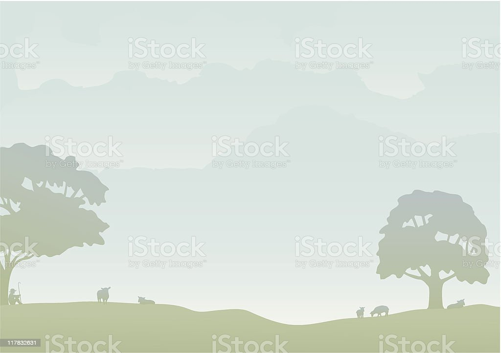 Shepherd with sheep vector art illustration