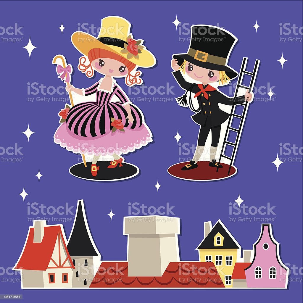 Shepherdess and Chimney Sweep. royalty-free shepherdess and chimney sweep stock vector art & more images of 18th century