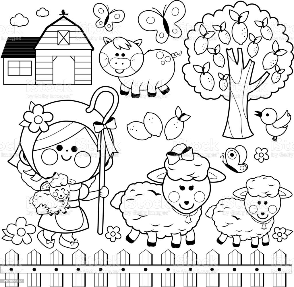 Shepherdess Girl And Animals At The Farm Black And White Coloring ...