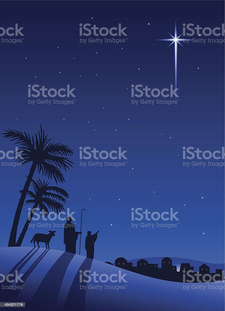 Shepherds at night vector art illustration