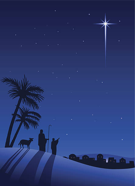 Shepherds at night vector art illustration