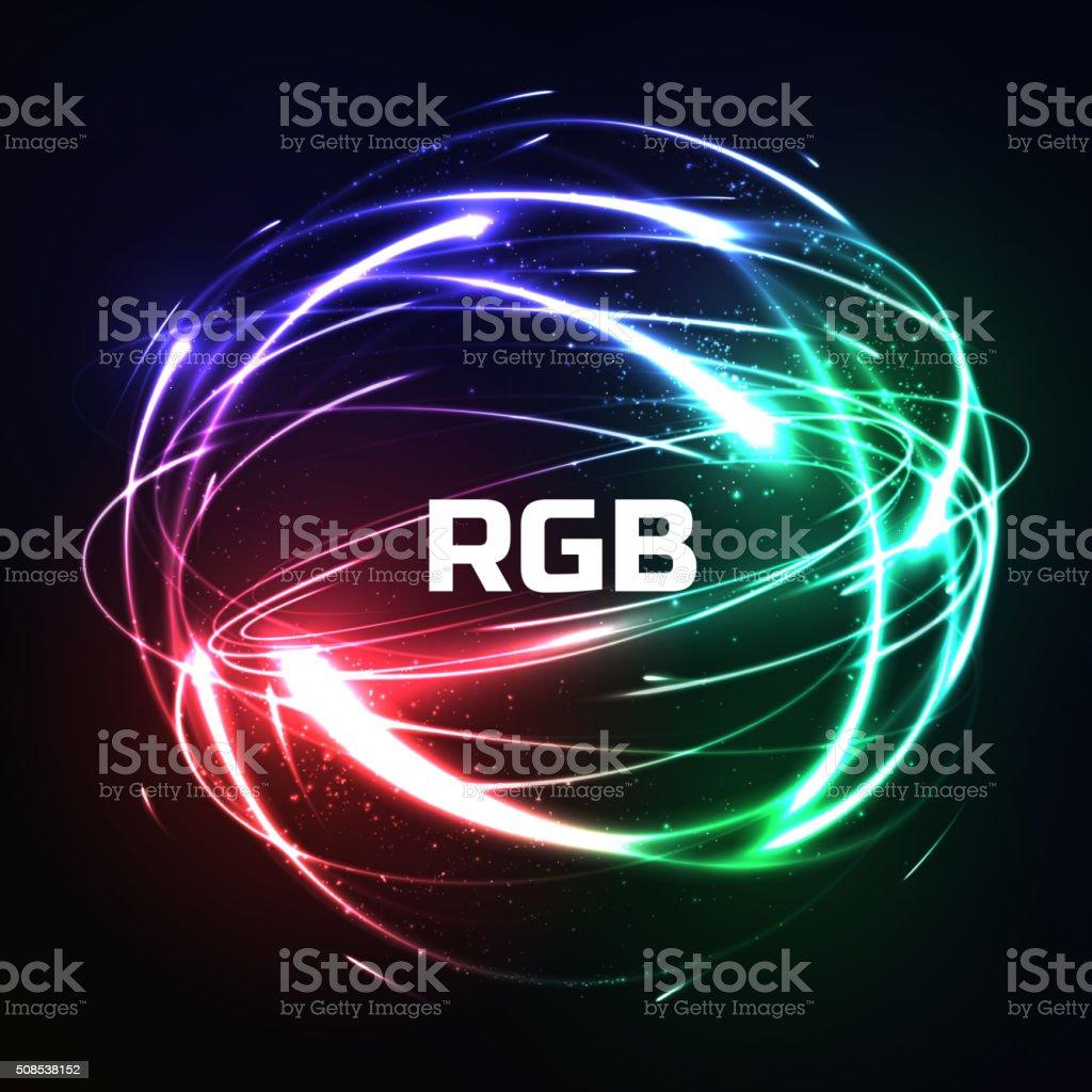 RGB Shier der meteor-leuchtende neon-Lichter in Auswirkungen – Vektorgrafik