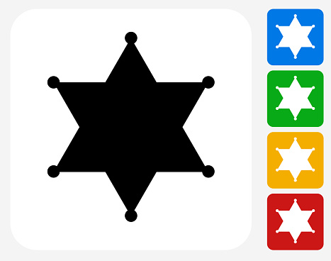 Sheriff Badge Icon Flat Graphic Design