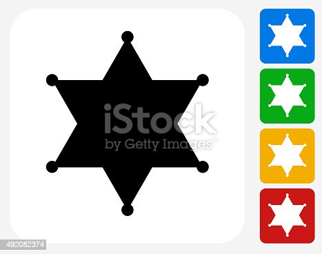Sheriff Badge Icon. This 100% royalty free vector illustration features the main icon pictured in black inside a white square. The alternative color options in blue, green, yellow and red are on the right of the icon and are arranged in a vertical column.