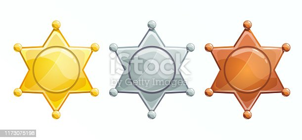 Sheriff badge icon. Golden, silver, bronze hexagonal star. Isolated vector on white background.