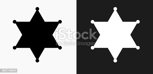 Sheriff Badge Icon on Black and White Vector Backgrounds. This vector illustration includes two variations of the icon one in black on a light background on the left and another version in white on a dark background positioned on the right. The vector icon is simple yet elegant and can be used in a variety of ways including website or mobile application icon. This royalty free image is 100% vector based and all design elements can be scaled to any size.