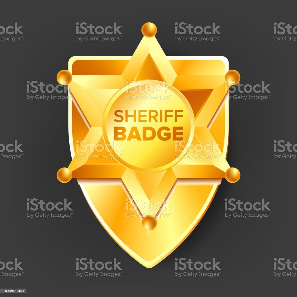 3c50c1608ebc32 Sheriff Badge Vector. Gouden ster. Westerse stijl. 3D realistische  illustratie royalty free sheriff