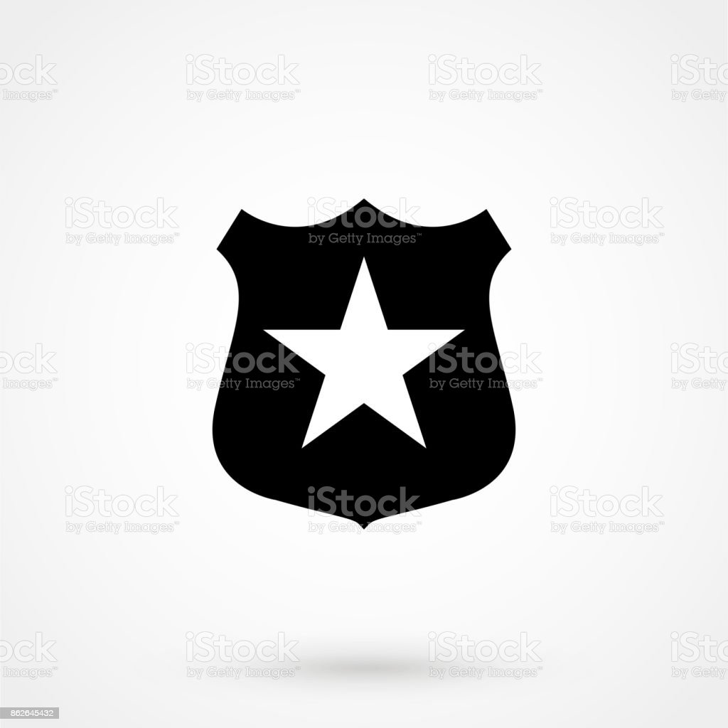 Sheriff badge with star icon vector, filled flat sign, solid pictogram isolated on white. Public safety symbol, symbol illustration vector art illustration