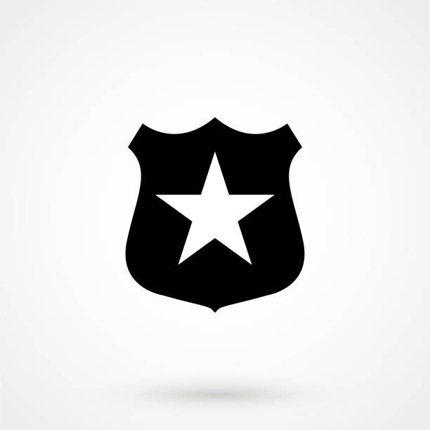 sheriff badge with star icon vector, filled flat sign, solid pictogram isolated on white. public safety symbol, symbol illustration - police officer stock illustrations, clip art, cartoons, & icons