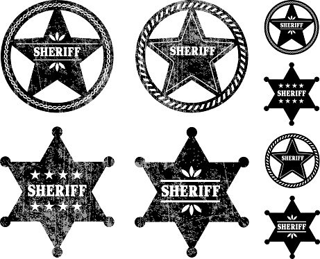 Sheriff Badges black and white royalty free vector icon set