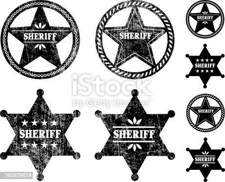 Sheriff Badges Black and White Set