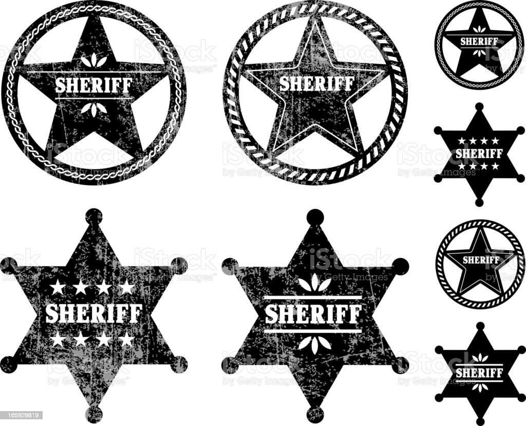 Sheriff Badges black and white royalty free vector icon set vector art illustration