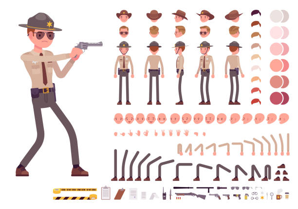 Sheriff character creation set Sheriff character creation set. Public officer on legal duty, making arrest. Full length, different views, emotions, gestures. Build your own design. Cartoon flat-style infographic illustration military uniform stock illustrations