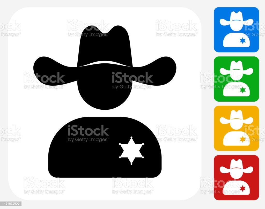 Sheriff Icon Flat Graphic Design vector art illustration
