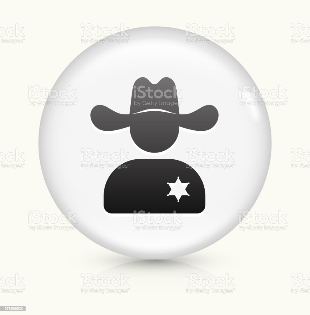 Sheriff icon on white round vector button vector art illustration