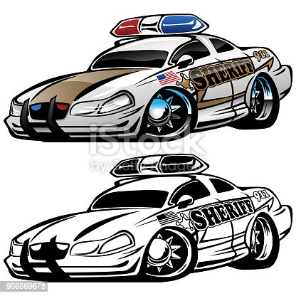Hot aggressive looking shierff muscle car hot rod cartoon illustrated in full color and black line art for easy editing