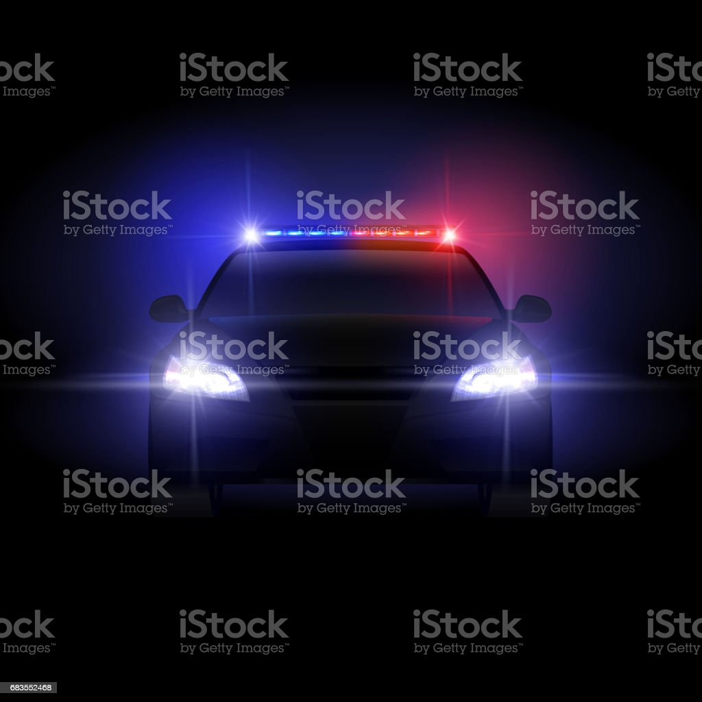 Sheriff police car at night with flashing light vector illustration vector art illustration