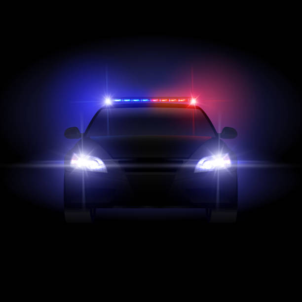 Sheriff police car at night with flashing light vector illustration Sheriff police car at night with flashing light vector illustration. Police car with siren night, security and protection traffic patrol police car stock illustrations