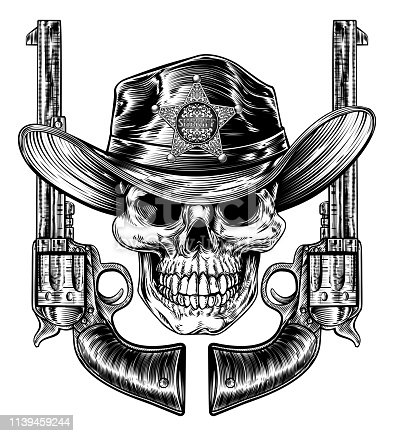 Skull in western cowboy hat with star sheriff bagde drawn in a vintage retro woodcut etched or engraved style with crossed guns