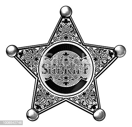 Sheriff star shaped badge in a vintage etched engraved style
