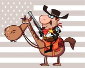 Sheriff With Gun On A Horse And Background USA Flag