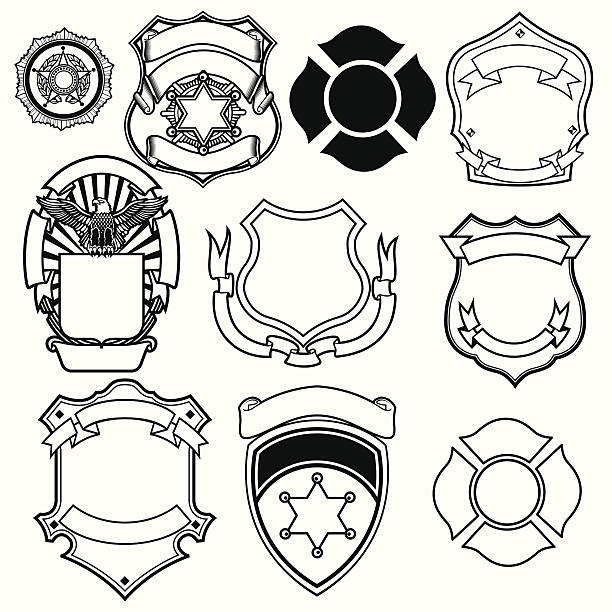 SHERIFFo shield vector collection fire station stock illustrations
