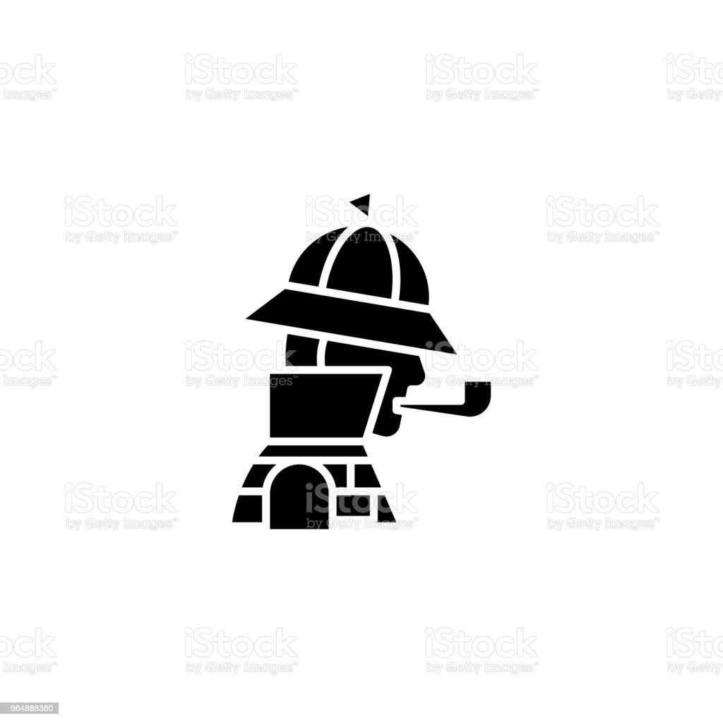 福爾摩斯黑色圖示概念。福爾摩斯平面向量符號, 符號, 插圖。 - 免版稅一組物體圖庫向量圖形