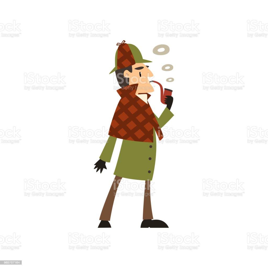 シャーロック ホームズ探偵文字喫煙タバコ パイプ ベクトル イラスト白