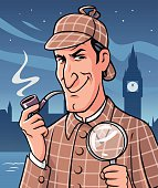 Illustration of the famous british private investigator Sherlock Holmes holding a magnifying glass and smoking a pipe in front of the London skyline by night. In the background is the river Thames and the Big Ben. EPS 10.