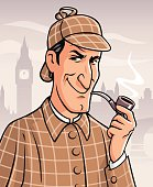 Illustration of the famous british private investigator Sherlock Holmes smoking a pipe in front of the London skyline. In the background is the river Thames and the Big Ben. EPS 10.