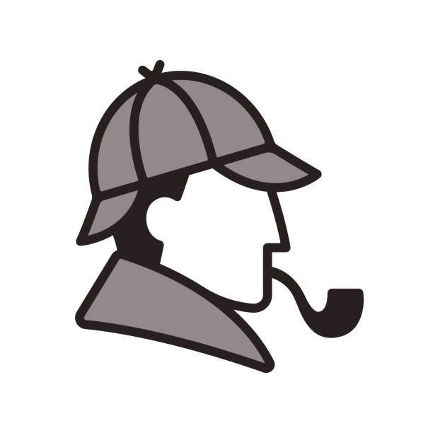 Sherlock Holmes profile Stylized Sherlock Holmes profile icon. Classic detective with hat and smoking pipe. Simple and minimal portrait. sherlock holmes stock illustrations