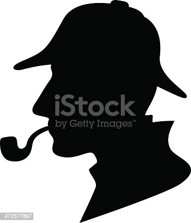 silhouette of a man with a pipe and hat / private investigator