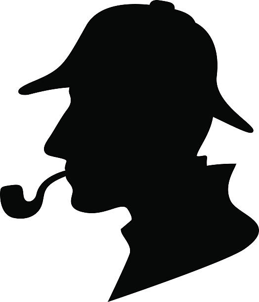 Sherlock Holmes Silhouette / Detective Symbol silhouette of a man with a pipe and hat / private investigator sherlock holmes stock illustrations