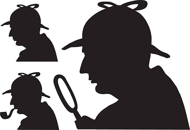 Sherlock Holmes silhouette famous detective This is silhouette of famous detective Sherlock Holmes. sherlock holmes stock illustrations