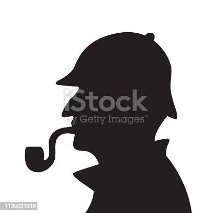 Sherlock holmes silhouette vector illustration