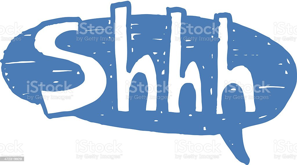 Shhh speech bubble vector art illustration