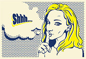 Shhh... woman, pop art style woman banner, hand drawn woman face