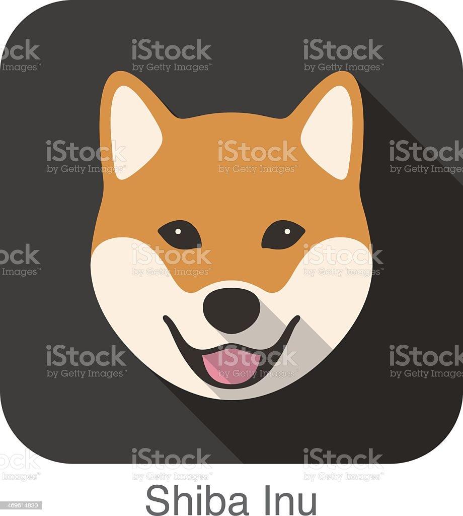 Shiba Inu Dog Face Cartoon Flat Icon Design Stock Vector Art & More ...