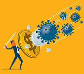 US dollar has become a safe haven investment, businessman uses US dollar currency as a shield against coronavirus panic (covid-19, virus) stock illustration