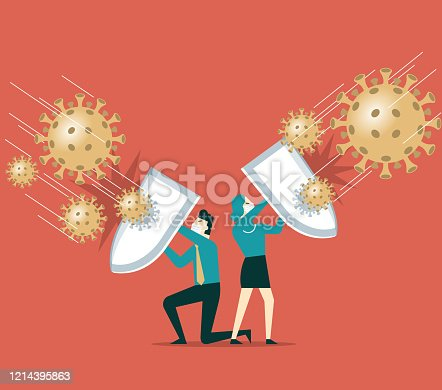People holding shields and wearing protective masks together to fight the new coronal pneumonia virus covid-19 stock illustration
