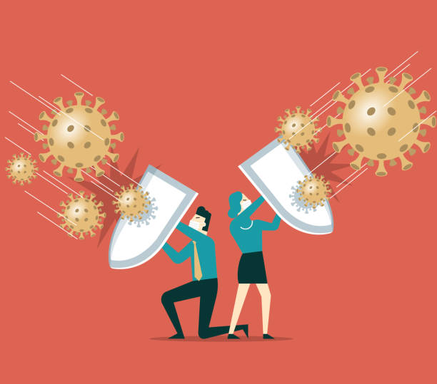 Shield against coronavirus People holding shields and wearing protective masks together to fight the new coronal pneumonia virus covid-19 stock illustration defend stock illustrations