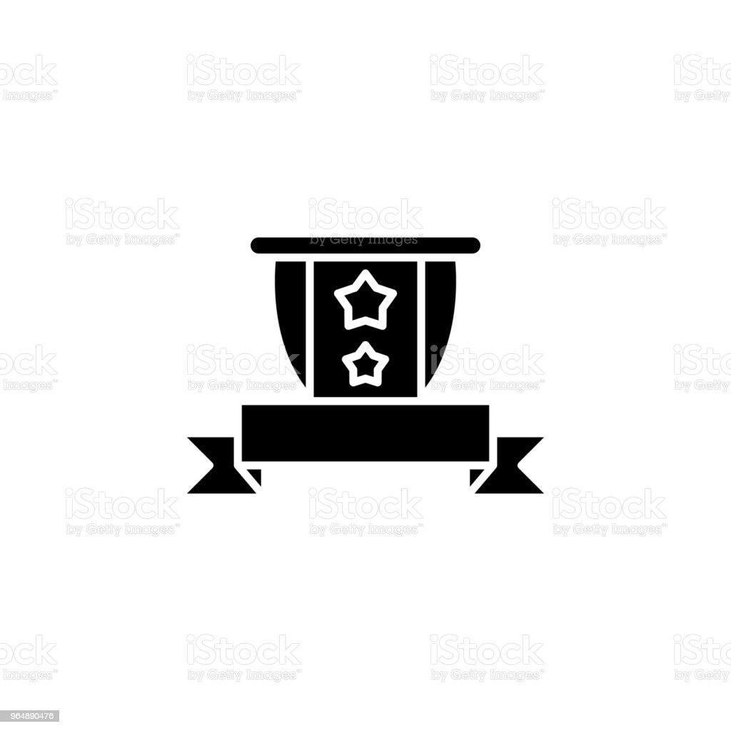 遮罩和帶黑色圖示的概念。盾和帶平面向量符號, 符號, 插圖。 - 免版稅保安圖庫向量圖形