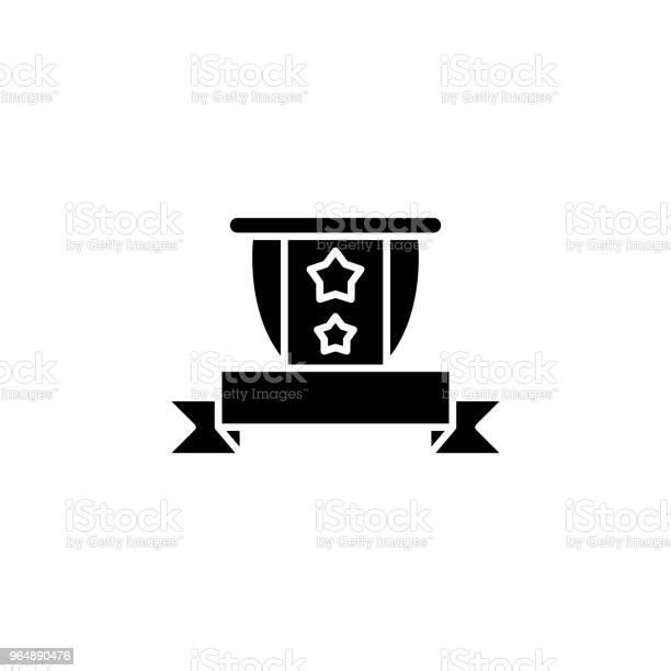 遮罩和帶黑色圖示的概念盾和帶平面向量符號 符號 插圖向量圖形及更多保安圖片
