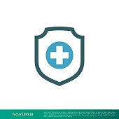 Shield and Cross Medical, Healthcare Icon Vector Logo Template Illustration Design. Editable Vector EPS 10.