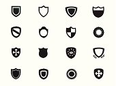 A set of royalty-free shields and emblematic black and white icons.