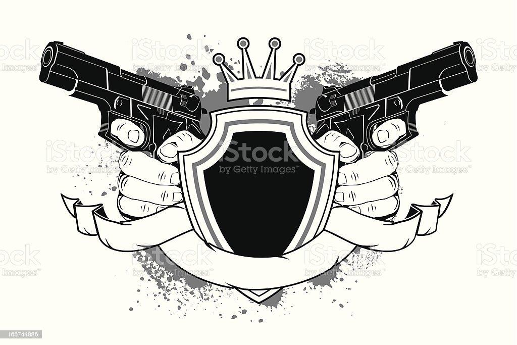 Shield and guns royalty-free stock vector art